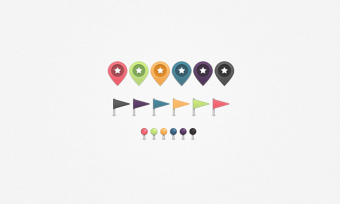 Map Markers, Flags & Pins PSD
